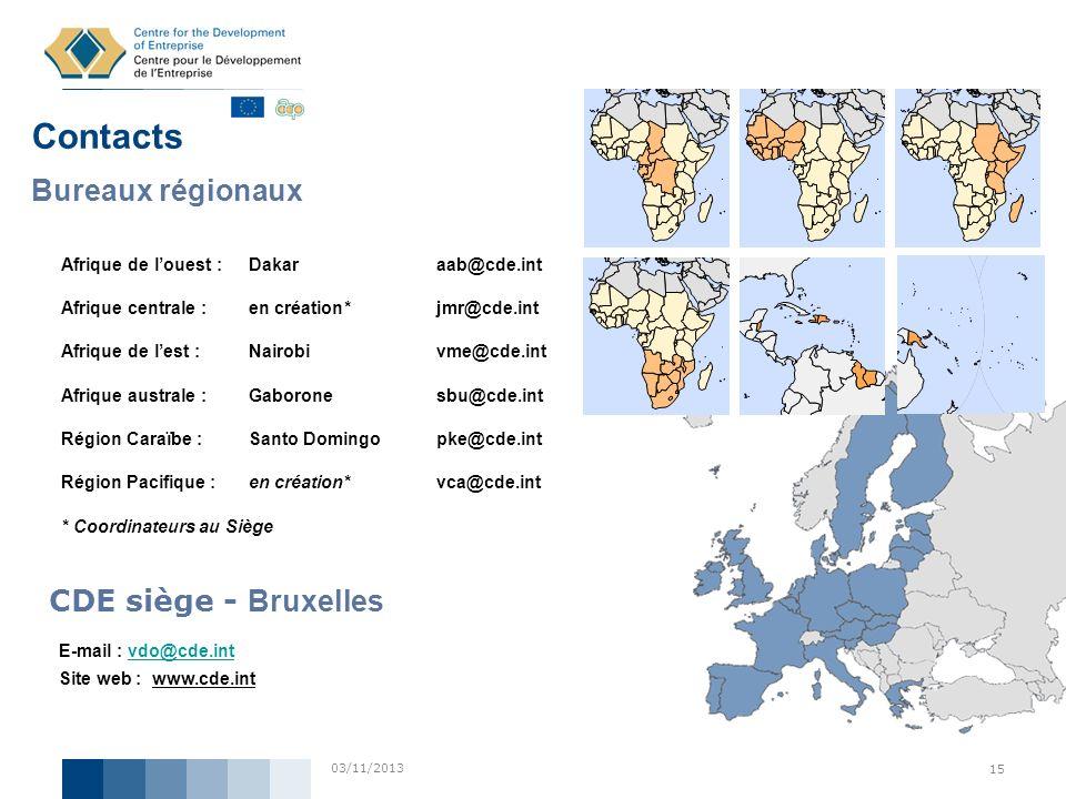 03/11/2013 15 Contacts Bureaux régionaux Afrique de louest :Dakar aab@cde.int Afrique centrale :en création* jmr@cde.int Afrique de lest :Nairobi vme@