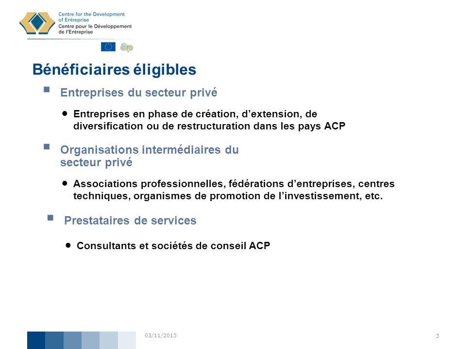 03/11/2013 3 Bénéficiaires éligibles Entreprises du secteur privé Entreprises en phase de création, dextension, de diversification ou de restructurati