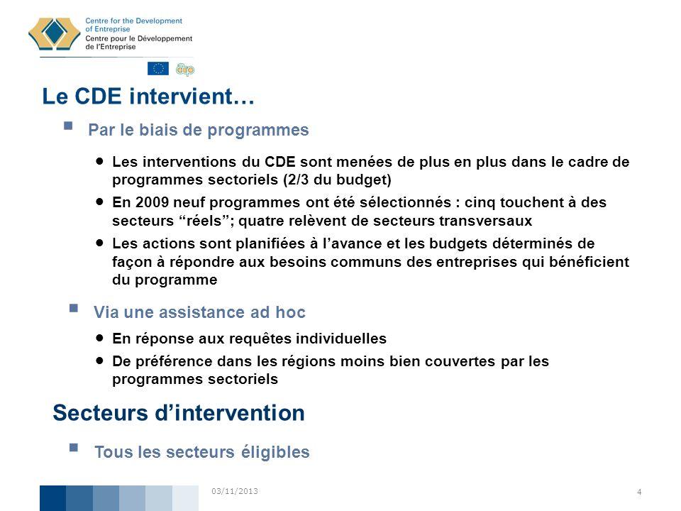 03/11/2013 4 Par le biais de programmes Le CDE intervient… Les interventions du CDE sont menées de plus en plus dans le cadre de programmes sectoriels