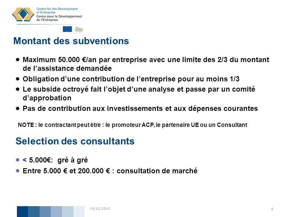 03/11/2013 6 Montant des subventions Maximum 50.000 /an par entreprise avec une limite des 2/3 du montant de lassistance demandée Obligation dune cont