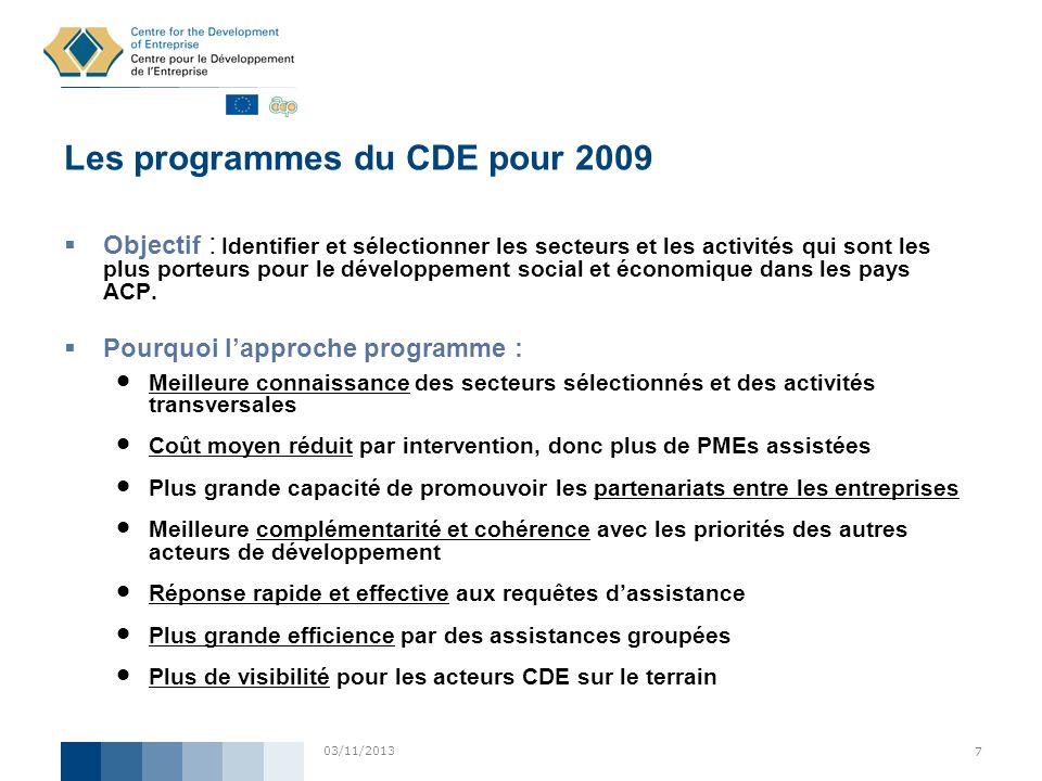 03/11/2013 7 Les programmes du CDE pour 2009 Objectif : Identifier et sélectionner les secteurs et les activités qui sont les plus porteurs pour le dé