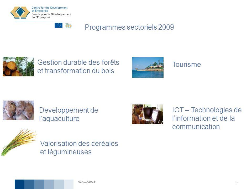 03/11/2013 8 8 Programmes sectoriels 2009 ICT – Technologies de linformation et de la communication Gestion durable des forêts et transformation du bo