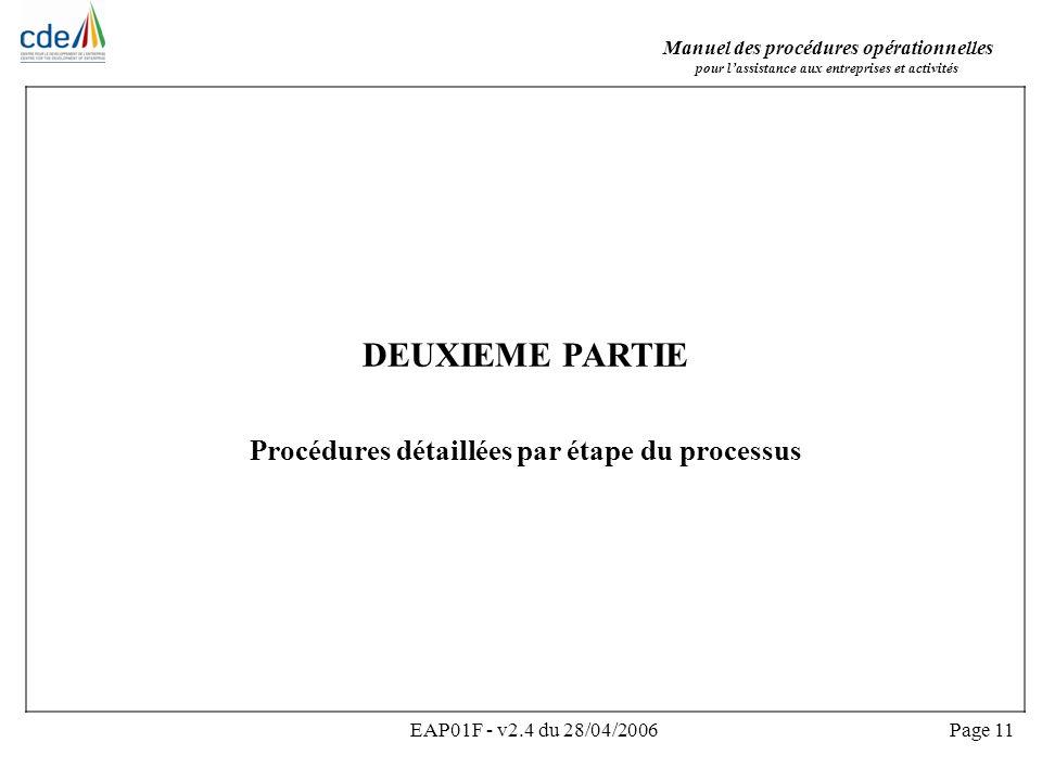 Manuel des procédures opérationnelles pour lassistance aux entreprises et activités EAP01F - v2.4 du 28/04/2006Page 11 DEUXIEME PARTIE Procédures déta