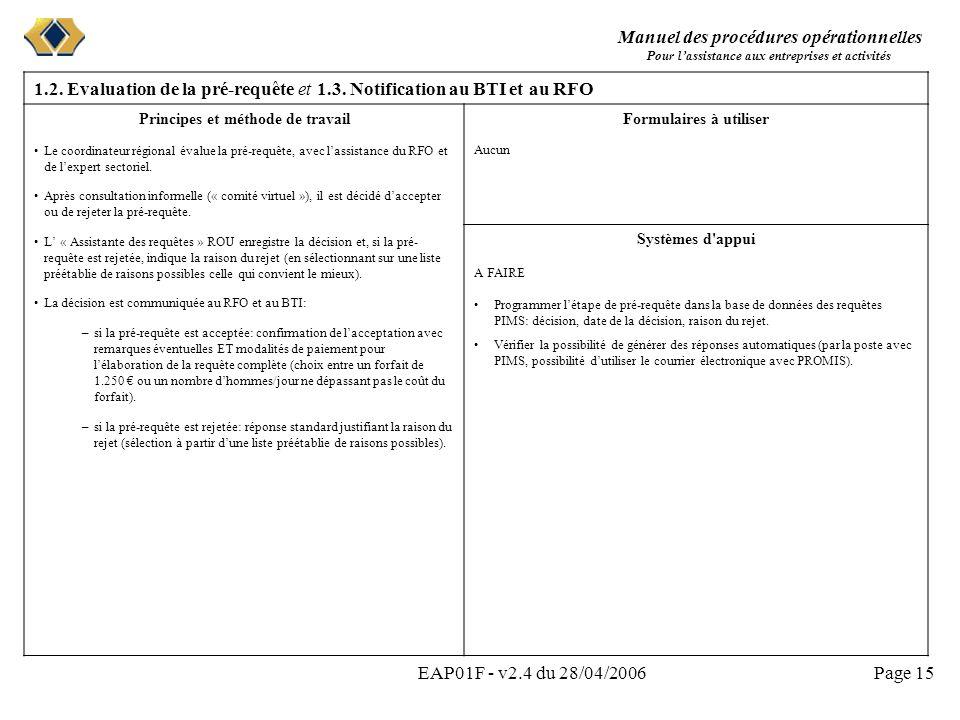 Manuel des procédures opérationnelles Pour lassistance aux entreprises et activités EAP01F - v2.4 du 28/04/2006Page 15 1.2. Evaluation de la pré-requê