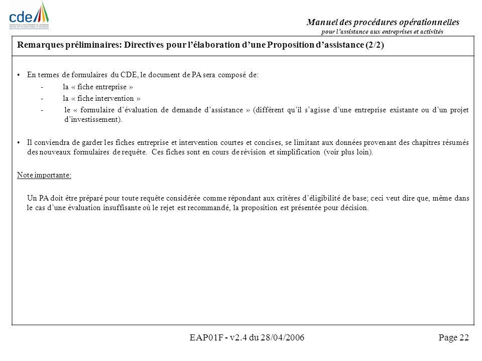 Manuel des procédures opérationnelles pour lassistance aux entreprises et activités EAP01F - v2.4 du 28/04/2006Page 22 Remarques préliminaires: Direct