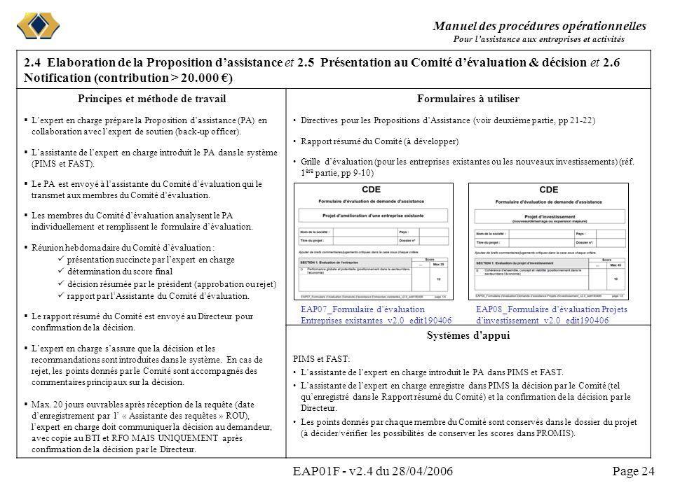 Manuel des procédures opérationnelles Pour lassistance aux entreprises et activités EAP01F - v2.4 du 28/04/2006Page 24 2.4 Elaboration de la Propositi