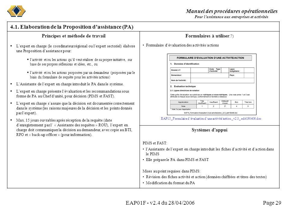 Manuel des procédures opérationnelles Pour lassistance aux entreprises et activités EAP01F - v2.4 du 28/04/2006Page 29 4.1. Elaboration de la Proposit