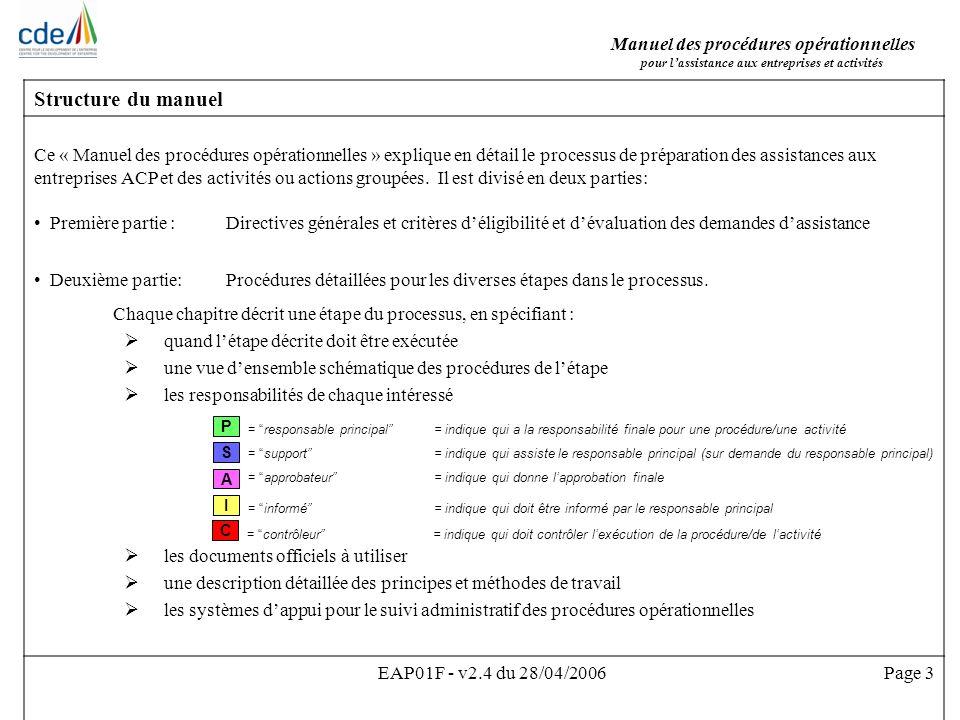 Manuel des procédures opérationnelles Pour lassistance aux entreprises et activités EAP01F - v2.4 du 28/04/2006Page 14 1.1.