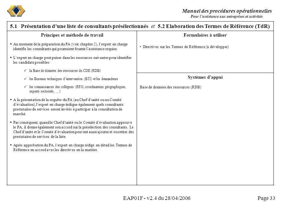 Manuel des procédures opérationnelles Pour lassistance aux entreprises et activités EAP01F - v2.4 du 28/04/2006Page 33 5.1 Présentation dune liste de