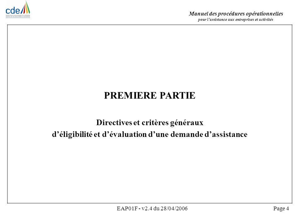 Manuel des procédures opérationnelles pour lassistance aux entreprises et activités EAP01F - v2.4 du 28/04/2006Page 5 Introduction sur les directives et critères Le CDE offre une large gamme dassistance en vue de la création et du renforcement des entreprises ACP.