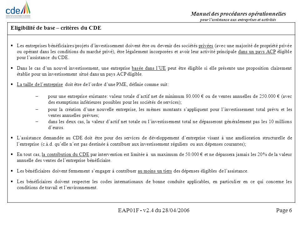 Manuel des procédures opérationnelles Pour lassistance aux entreprises et activités EAP01F - v2.4 du 28/04/2006Page 37 6.4 Signature du contrat par le CDE et 6.5 Enregistrement de lengagement et 6.6 Envoi et réception du contrat signé par le consultant Principes et méthode de travail Tous les contrats (originaux) doivent être signés par le Directeur.