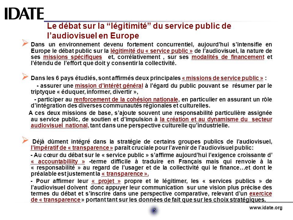 www.idate.org 2 Le débat sur la légitimité du service public de laudiovisuel en Europe Dans un environnement devenu fortement concurrentiel, aujourdhu
