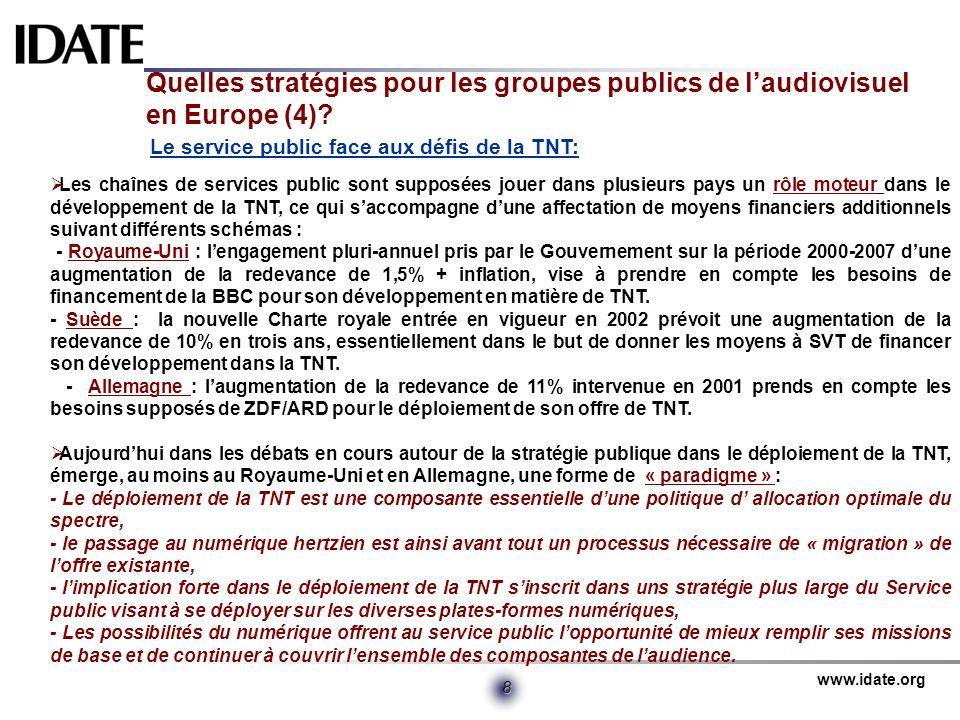 www.idate.org 8 Quelles stratégies pour les groupes publics de laudiovisuel en Europe (4)? Le service public face aux défis de la TNT: Les chaînes de