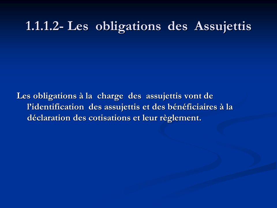 1.1.1.2- Les obligations des Assujettis Les obligations à la charge des assujettis vont de lidentification des assujettis et des bénéficiaires à la dé
