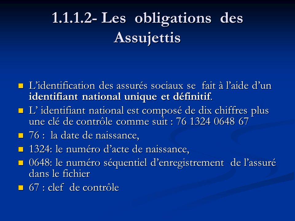1.1.1.2- Les obligations des Assujettis Lidentification des assurés sociaux se fait à laide dun identifiant national unique et définitif. Lidentificat