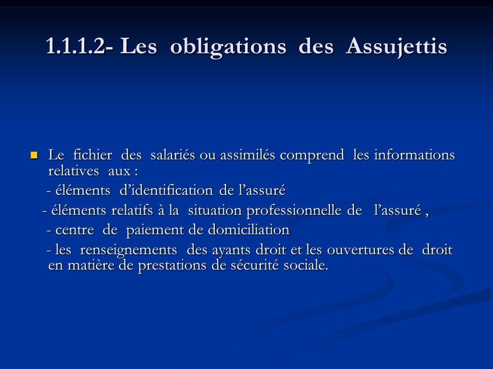 1.1.1.2- Les obligations des Assujettis Le fichier des salariés ou assimilés comprend les informations relatives aux : Le fichier des salariés ou assi
