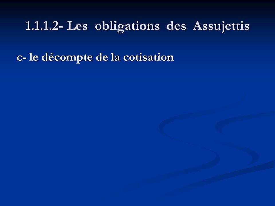 1.1.1.2- Les obligations des Assujettis c- le décompte de la cotisation