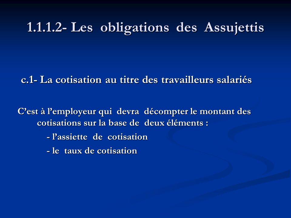1.1.1.2- Les obligations des Assujettis c.1- La cotisation au titre des travailleurs salariés c.1- La cotisation au titre des travailleurs salariés Ce