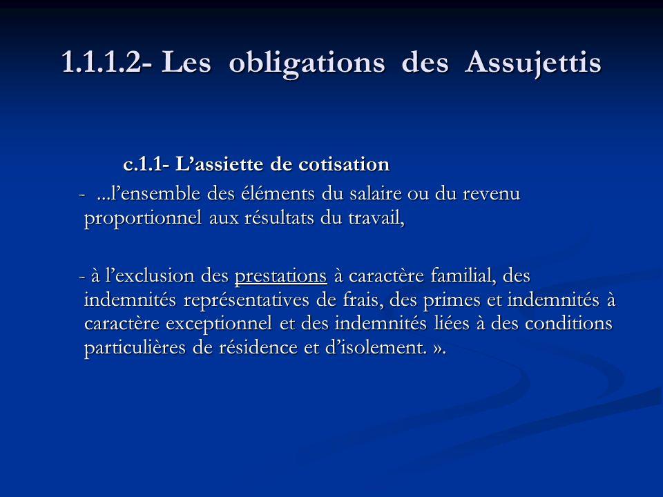 1.1.1.2- Les obligations des Assujettis c.1.1- Lassiette de cotisation c.1.1- Lassiette de cotisation -...lensemble des éléments du salaire ou du reve