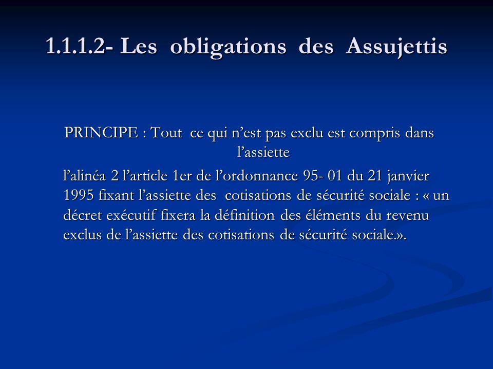 1.1.1.2- Les obligations des Assujettis PRINCIPE : Tout ce qui nest pas exclu est compris dans lassiette PRINCIPE : Tout ce qui nest pas exclu est com