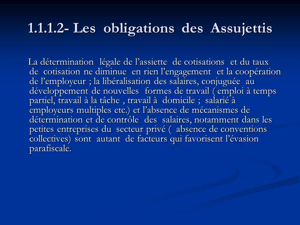 1.1.1.2- Les obligations des Assujettis La détermination légale de lassiette de cotisations et du taux de cotisation ne diminue en rien lengagement et