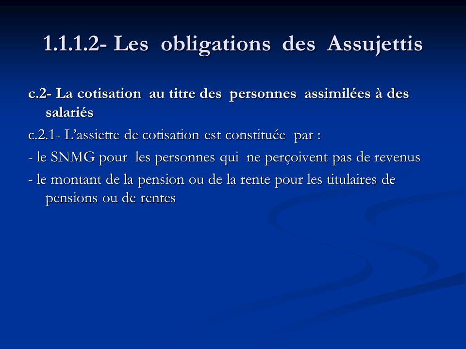 1.1.1.2- Les obligations des Assujettis c.2- La cotisation au titre des personnes assimilées à des salariés c.2.1- Lassiette de cotisation est constit