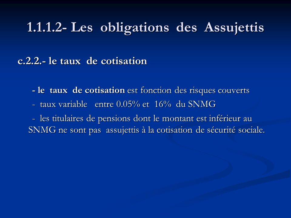 1.1.1.2- Les obligations des Assujettis c.2.2.- le taux de cotisation - le taux de cotisation est fonction des risques couverts - le taux de cotisatio