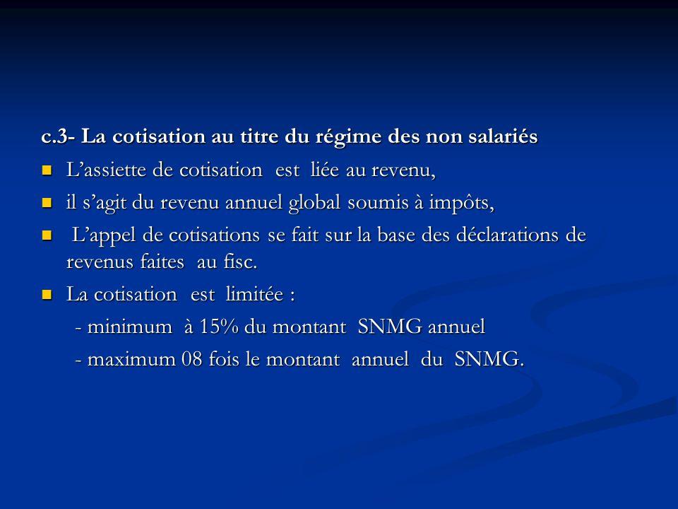c.3- La cotisation au titre du régime des non salariés Lassiette de cotisation est liée au revenu, Lassiette de cotisation est liée au revenu, il sagi