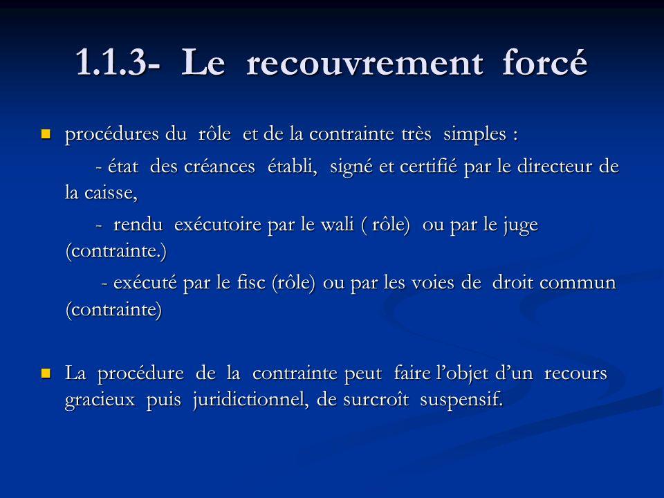 1.1.3- Le recouvrement forcé procédures du rôle et de la contrainte très simples : procédures du rôle et de la contrainte très simples : - état des cr