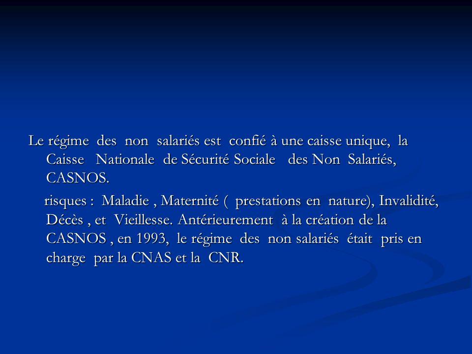 Le régime des non salariés est confié à une caisse unique, la Caisse Nationale de Sécurité Sociale des Non Salariés, CASNOS. risques : Maladie, Matern