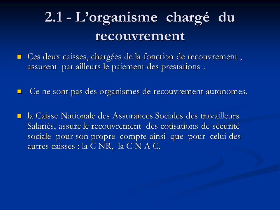 2.1 - Lorganisme chargé du recouvrement Ces deux caisses, chargées de la fonction de recouvrement, assurent par ailleurs le paiement des prestations.