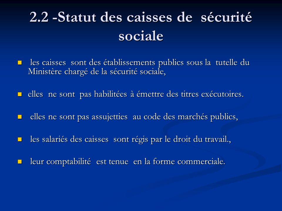 2.2 -Statut des caisses de sécurité sociale les caisses sont des établissements publics sous la tutelle du Ministère chargé de la sécurité sociale, le