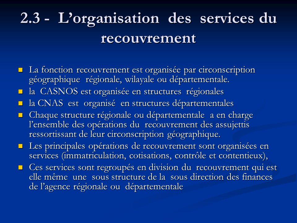 2.3 - Lorganisation des services du recouvrement La fonction recouvrement est organisée par circonscription géographique régionale, wilayale ou départ