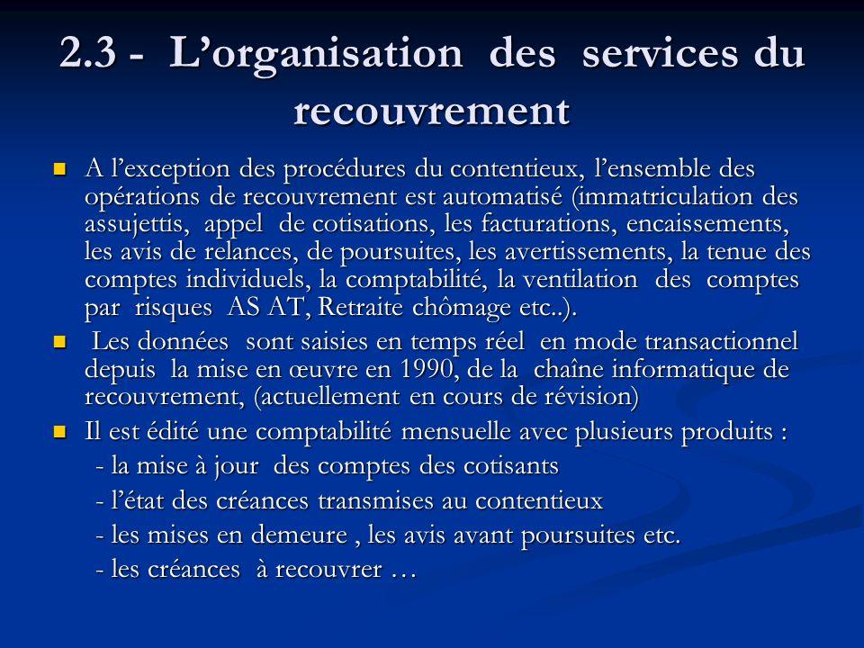 2.3 - Lorganisation des services du recouvrement A lexception des procédures du contentieux, lensemble des opérations de recouvrement est automatisé (