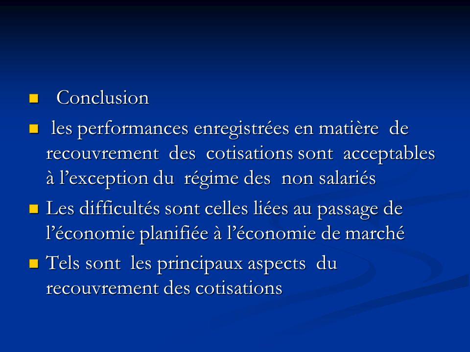 Conclusion Conclusion les performances enregistrées en matière de recouvrement des cotisations sont acceptables à lexception du régime des non salarié