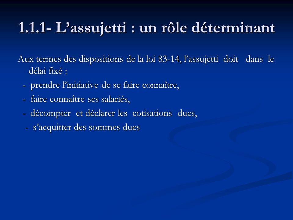 1.1.1- Lassujetti : un rôle déterminant Aux termes des dispositions de la loi 83-14, lassujetti doit dans le délai fixé : - prendre linitiative de se
