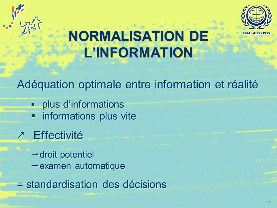 14 NORMALISATION DE LINFORMATION Adéquation optimale entre information et réalité plus dinformations informations plus vite Effectivité droit potentie