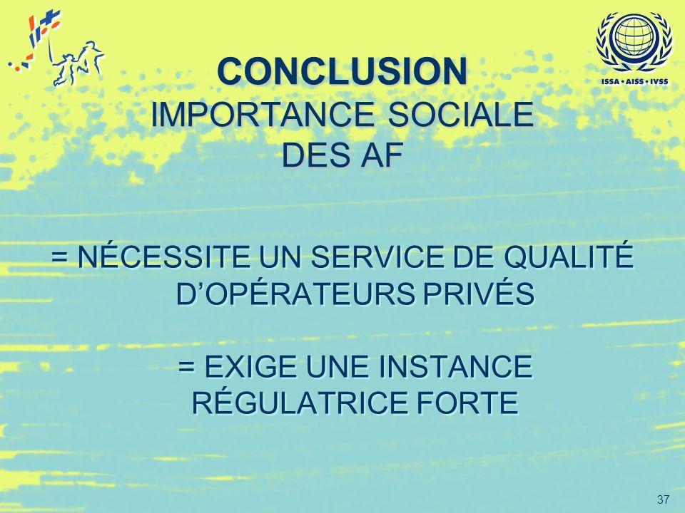37 CONCLUSION IMPORTANCE SOCIALE DES AF = NÉCESSITE UN SERVICE DE QUALITÉ DOPÉRATEURS PRIVÉS = EXIGE UNE INSTANCE RÉGULATRICE FORTE = NÉCESSITE UN SER