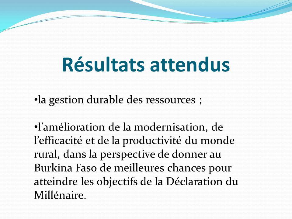 Résultats attendus la gestion durable des ressources ; lamélioration de la modernisation, de lefficacité et de la productivité du monde rural, dans la perspective de donner au Burkina Faso de meilleures chances pour atteindre les objectifs de la Déclaration du Millénaire.