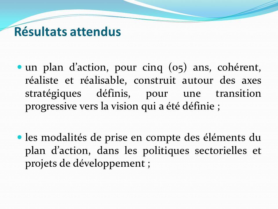 Résultats attendus un plan daction, pour cinq (05) ans, cohérent, réaliste et réalisable, construit autour des axes stratégiques définis, pour une transition progressive vers la vision qui a été définie ; les modalités de prise en compte des éléments du plan daction, dans les politiques sectorielles et projets de développement ;