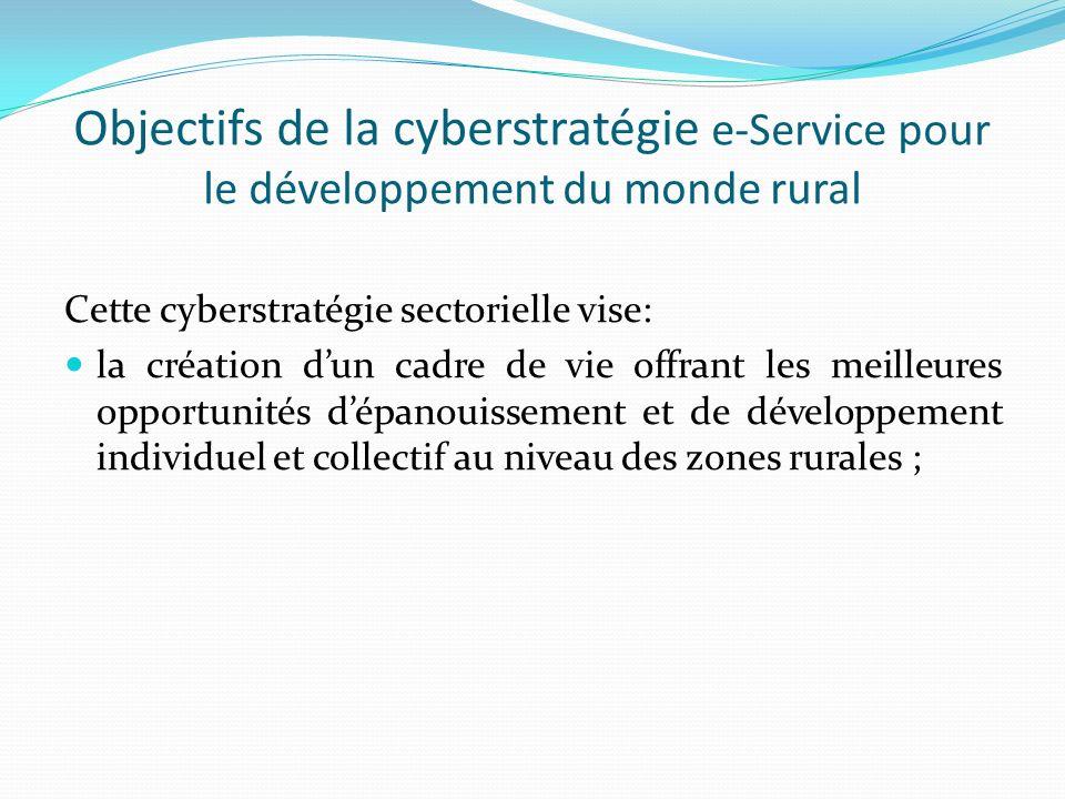 Objectifs de la cyberstratégie e-Service pour le développement du monde rural Cette cyberstratégie sectorielle vise: la création dun cadre de vie offrant les meilleures opportunités dépanouissement et de développement individuel et collectif au niveau des zones rurales ;