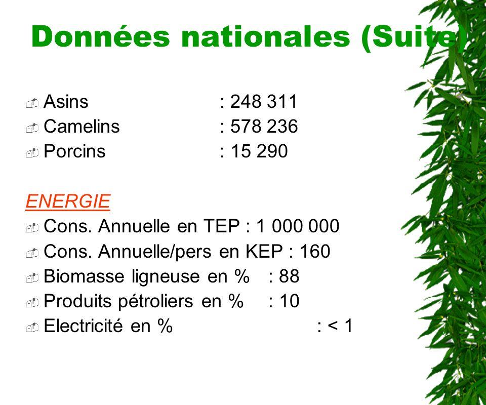 Données nationales (Suite) RESSOURCES NATURELLES Superficie agricole: 390 000 km2 Terres cultivables (%): 30,4 Superficie forestière: 230 860 km2 Taux annuel de déboisement : 0,6 % ELEVAGE Bovins: 5 514 183 Ovins: 2 088 772 Caprins: 3 085 687 Equins: 209 684
