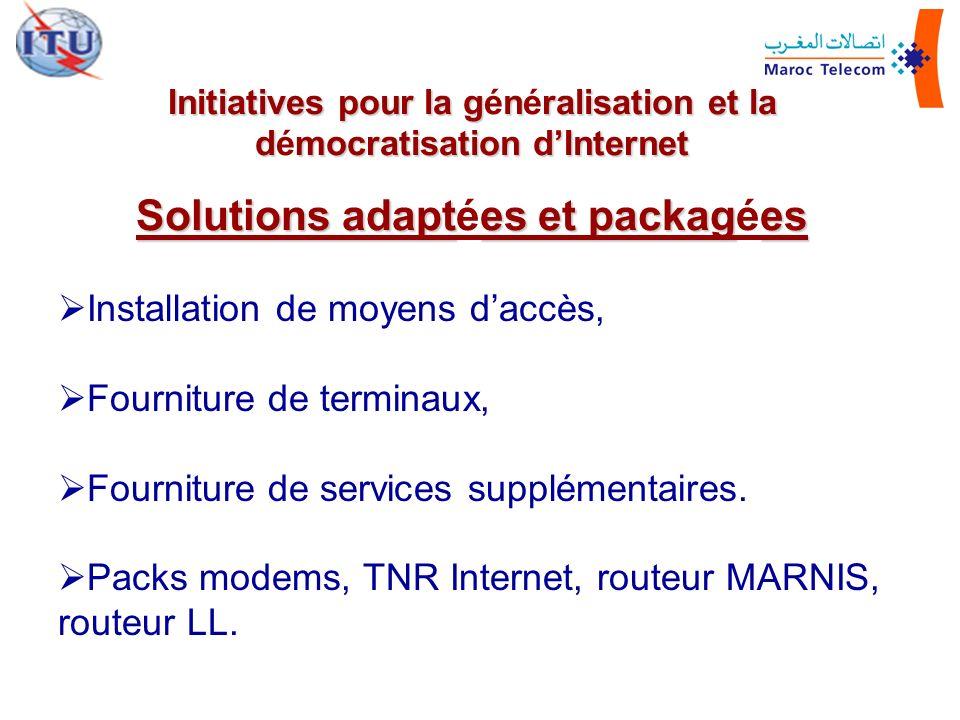 Installation de moyens daccès, Fourniture de terminaux, Fourniture de services supplémentaires. Packs modems, TNR Internet, routeur MARNIS, routeur LL