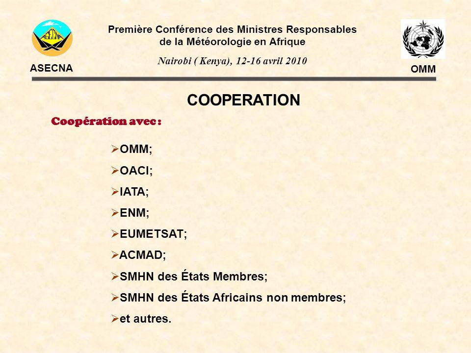 COOPERATION Première Conférence des Ministres Responsables de la Météorologie en Afrique Nairobi ( Kenya), 12-16 avril 2010 ASECNA OMM OMM; OACI; IATA