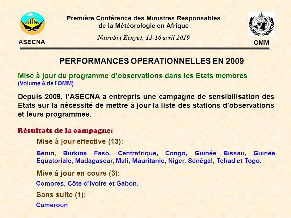 PERFORMANCES OPERATIONNELLES EN 2009 Mise à jour du programme dobservations dans les Etats membres (Volume A de lOMM) Première Conférence des Ministre