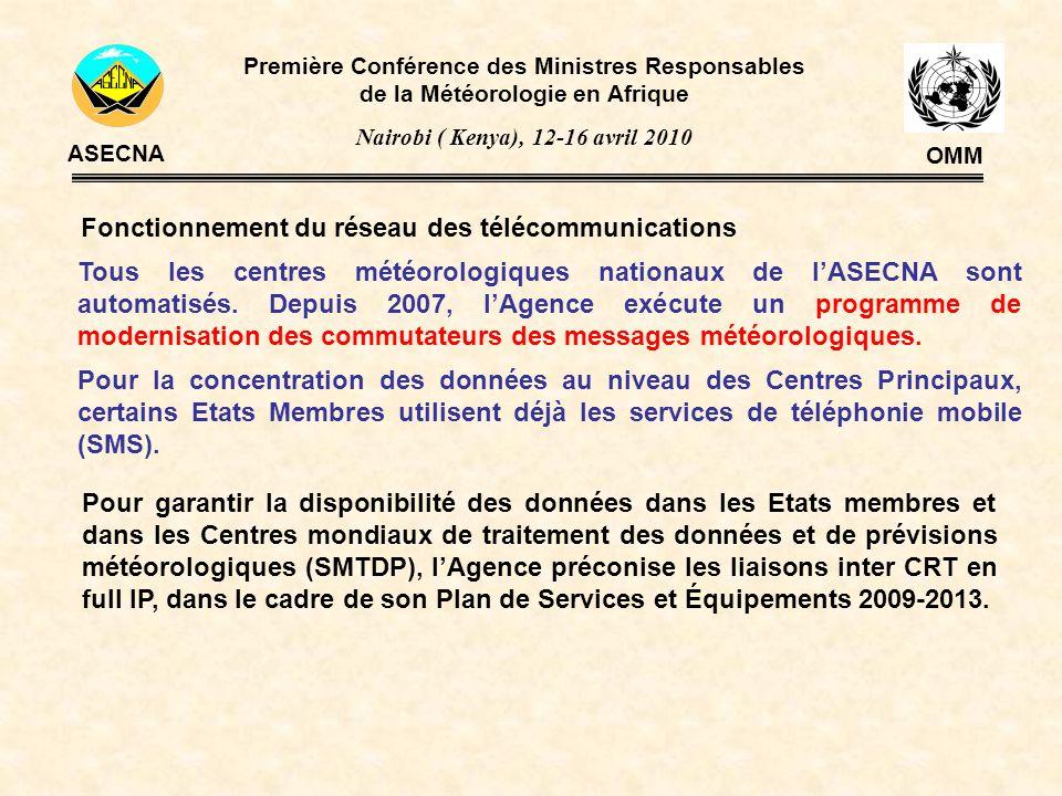 Fonctionnement du réseau des télécommunications Tous les centres météorologiques nationaux de lASECNA sont automatisés. Depuis 2007, lAgence exécute u