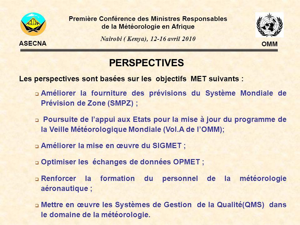 PERSPECTIVES Les perspectives sont basées sur les objectifs MET suivants : Améliorer la fourniture des prévisions du Système Mondiale de Prévision de