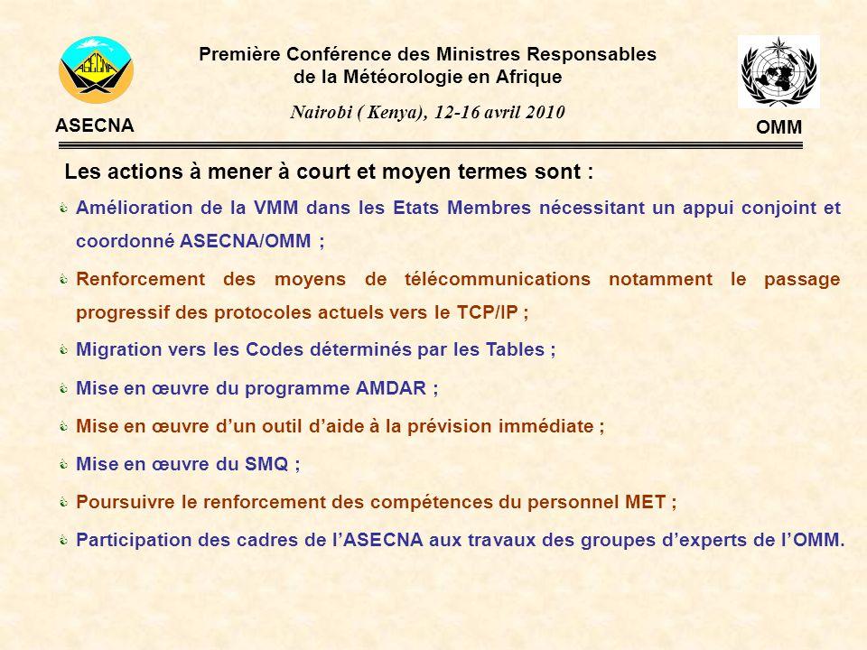 Les actions à mener à court et moyen termes sont : Amélioration de la VMM dans les Etats Membres nécessitant un appui conjoint et coordonné ASECNA/OMM