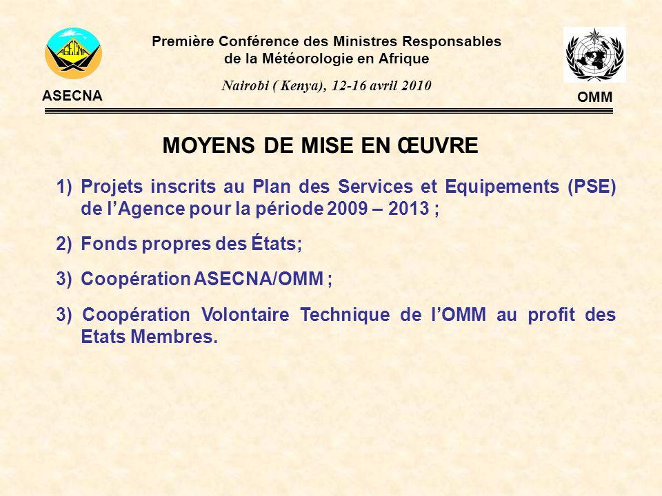 MOYENS DE MISE EN ŒUVRE 1)Projets inscrits au Plan des Services et Equipements (PSE) de lAgence pour la période 2009 – 2013 ; 2)Fonds propres des État