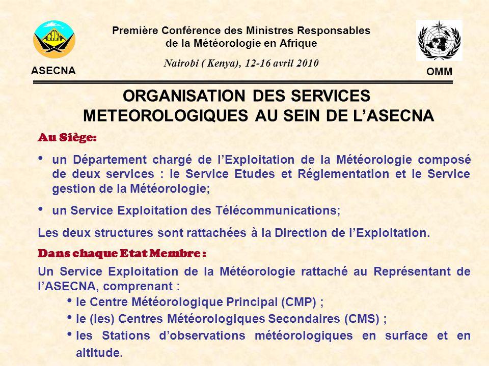 ORGANISATION DES SERVICES METEOROLOGIQUES AU SEIN DE LASECNA Au Siège: un Département chargé de lExploitation de la Météorologie composé de deux servi